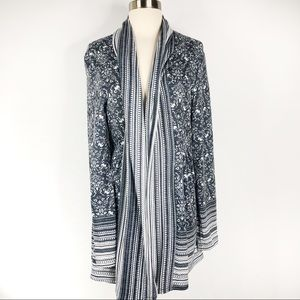 Anthro One September Floral Draped Open Cardigan